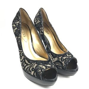 Guess Lace Floral Heels